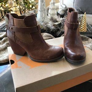 Kork Brown Leather Wedge Booties